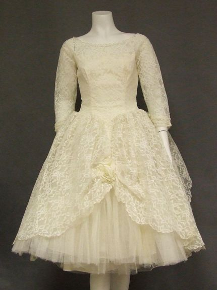 afbf334cef8 1960s Wedding Dress in ivory lace and tulle. Fitted bodice with basque  waist