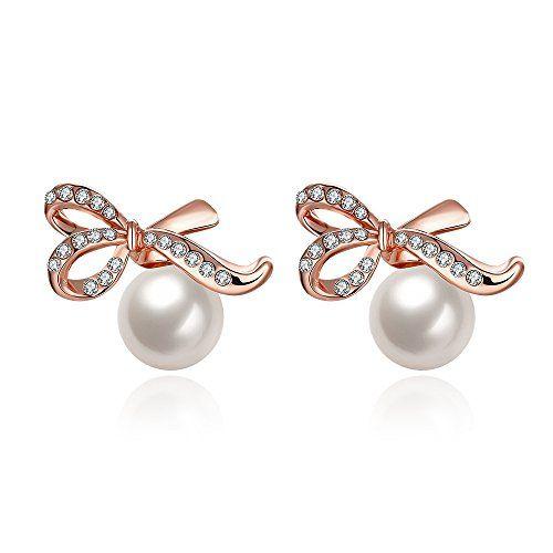 Rose Gold Plated Flower Freshwater Cultured Pearl Pierced Stud Earrings for Women Girls DivUwC29