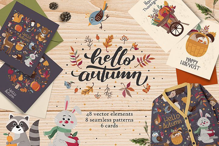 Hello, Autumn! Forest cute animals #helloautumn