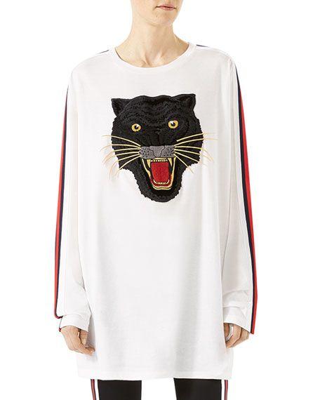 1298c74df Oversized T-Shirt with Panther Gucci Shirt Women, Gucci Shirts, Gucci  Sweatshirt,