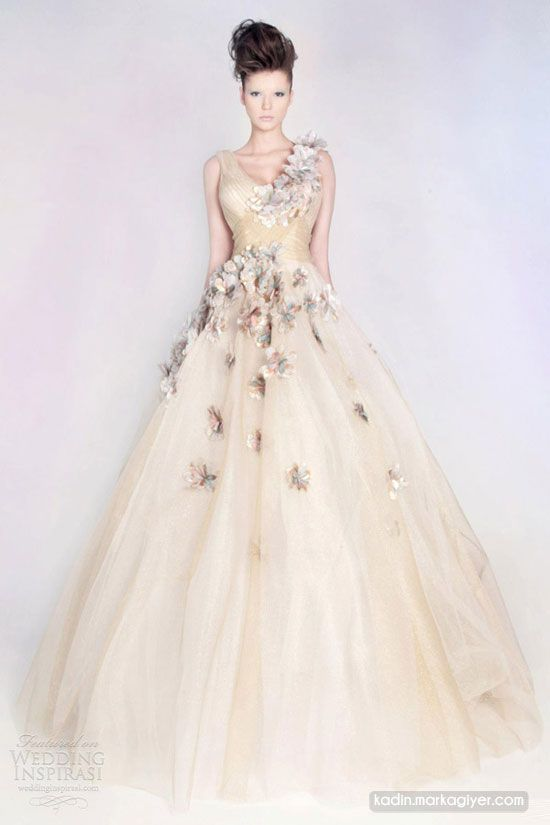 Bridal Gowns with Colored Embroidery