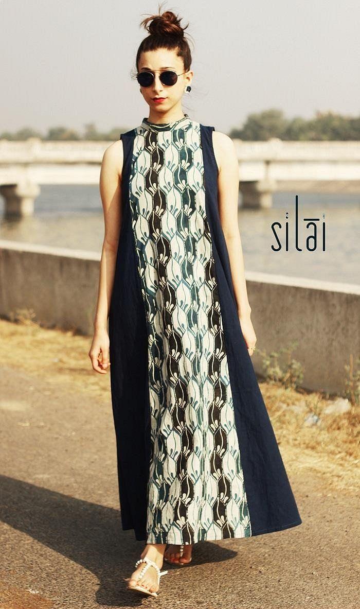Boho Maxi Dress | Blue Panel Boho Dress..geometric ajrakh center ...