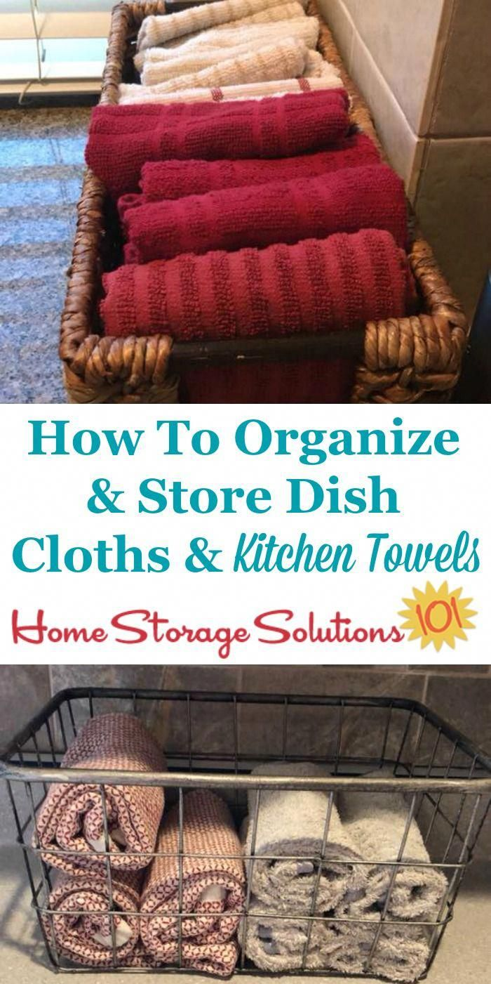 idea for how to organize and store dish cloths and kitchen towels inside a basket on your on kitchen organization dishes id=56049