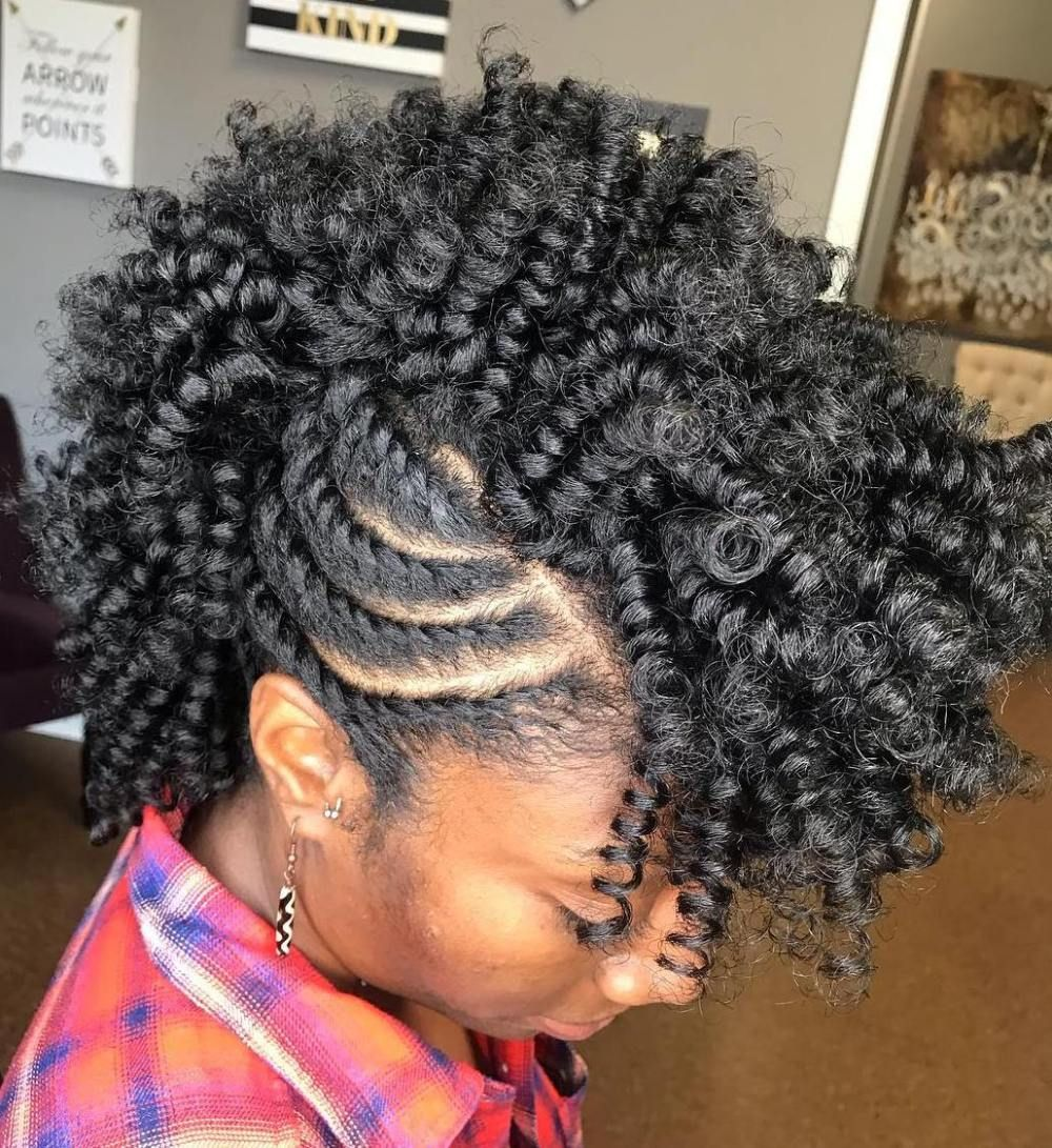 Twist Out Mohawk with Side Twists