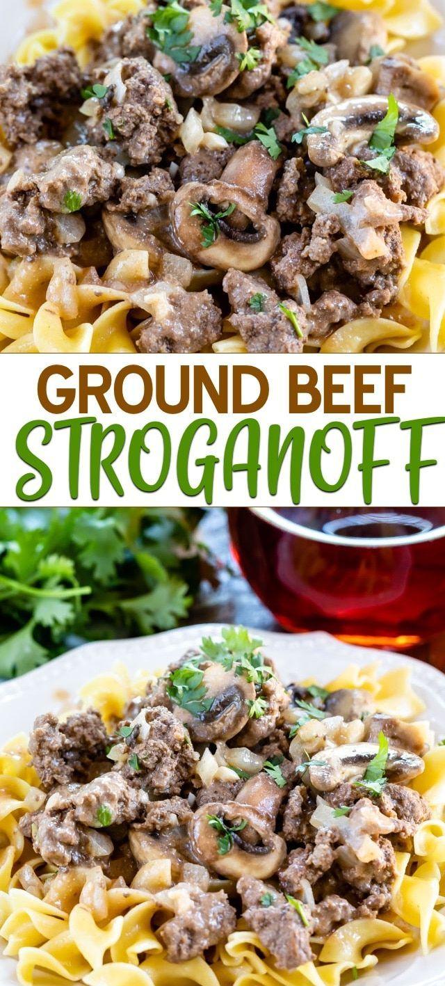30 Minute Ground Beef Stroganoff Crazy For Crust Recipe Ground Beef Stroganoff Ground Beef Recipes Beef Stroganoff