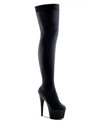 add1942f8a7 Pleaser - Exotic - Adore 3002 - Thigh High Boots - Stretch Lycra - Black