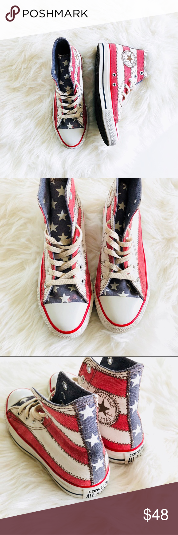 Converse Chuck Taylor Americana High Tops Converse Chuck Taylor Americana  High Tops in faded fabric with stitching. Size 7 Worn once 43f524256