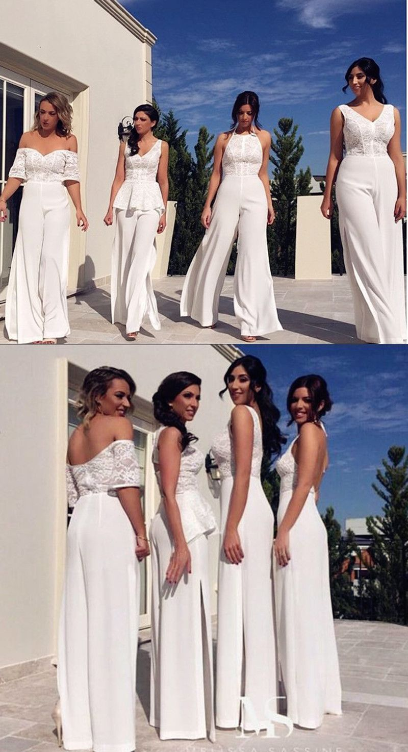 8b338a463ea6 Halter Backless White Chiffon Bridesmaid Jumpsuit with Lace