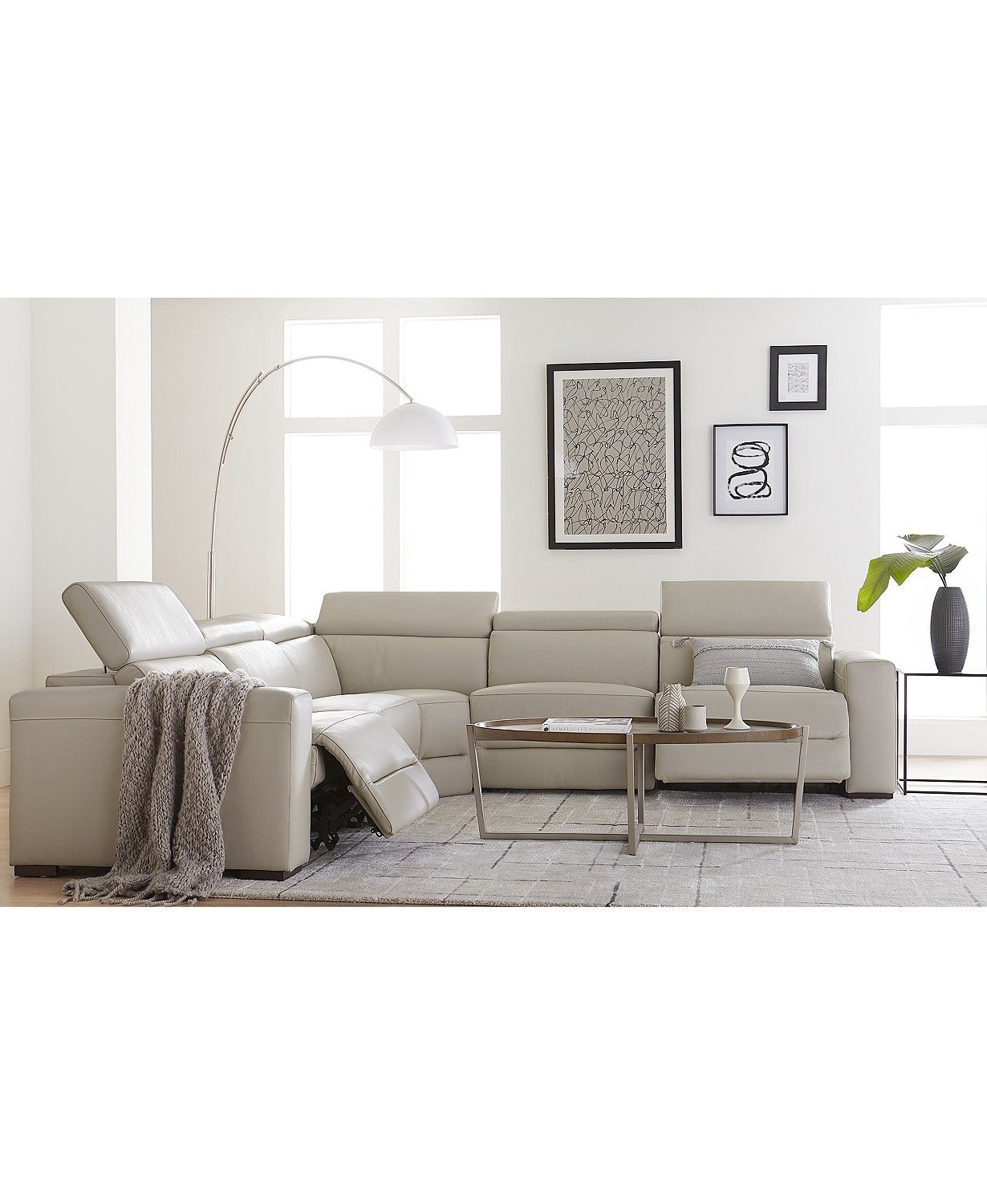 Furniture Nevio Leather Power Reclining Sectional Sofa With Articulating Headrests Collection Created For Macy S Reviews Furniture Macy S In 2020 Power Reclining Sectional Sofa Sectional Sofa With Recliner Reclining Sectional