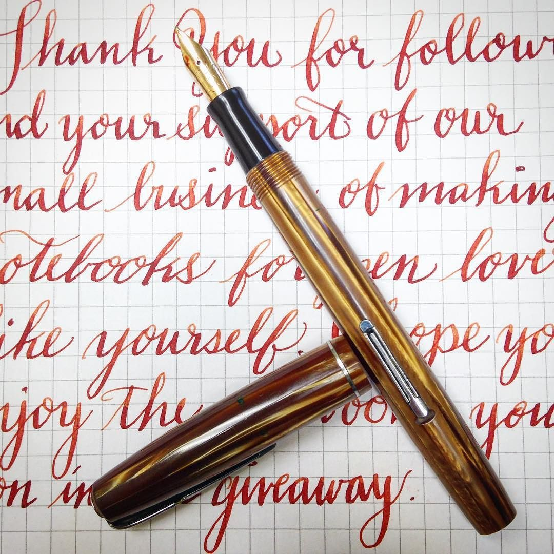 "A ""thank you"" note in my best ""flexmanship"" with a #waterman Stalwart #vintagepen #noodlersink habannero Flex does take time to get a feel for but I love it."