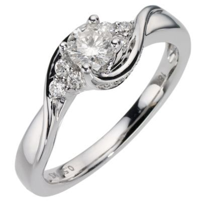 18ct White Gold Half Carat Diamond Solitaire Ring H Samuel the