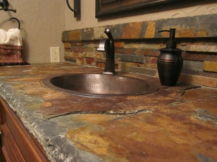 Perfect Soft Brown Yellow Slate Countertops With Round Shape Sink On Brown Wood  Vanity Bathroom At Outstanding