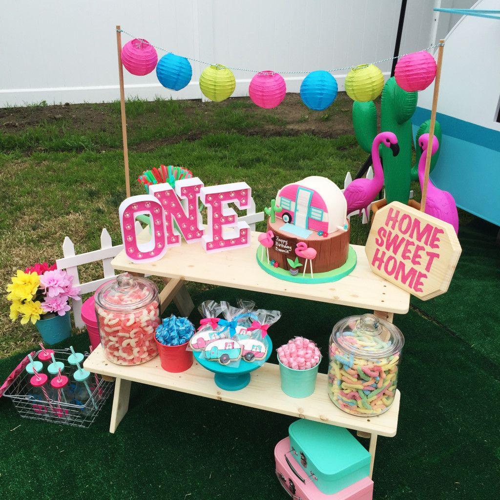 Kitschy Camper Trailer Birthday Party In