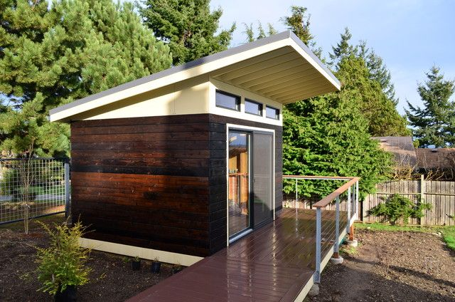 Roof Overhang Dark Siding Accents Windows Shed Roof Design Modern Shed Contemporary Sheds