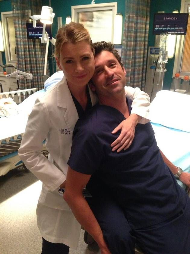 Ellen Pompeo Hugs Patrick Dempsey On Grey S Anatomy Season