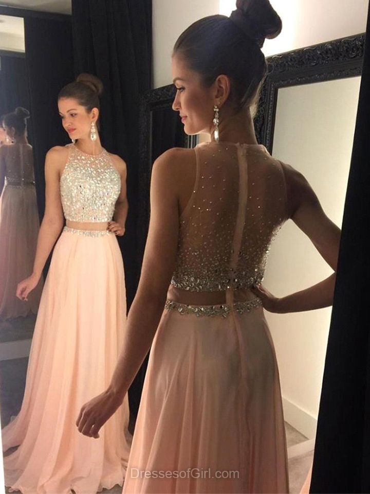 Two Piece Prom Dresses, A-line Scoop Neck Chiffon Party Dresses ...