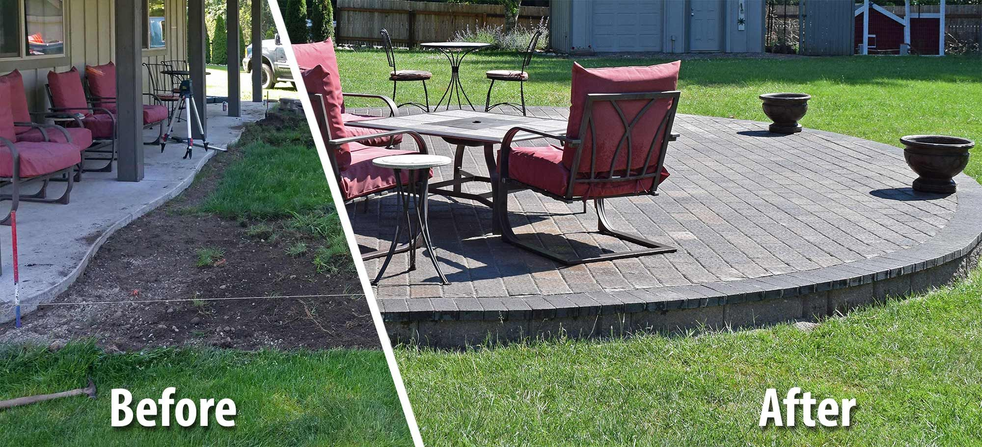 Marvelous Before And After Comparison Showing The Much Improved Raised Backyard Paver  Patio.
