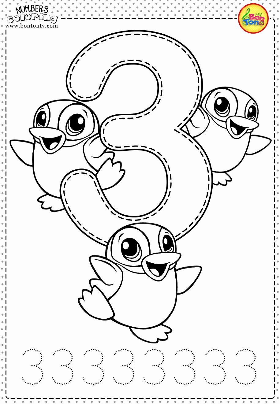 Number 3 Count And Trace Coloring Page Twisty Noodle Preschool Number Worksheets Tracing Worksheets Preschool Numbers Preschool