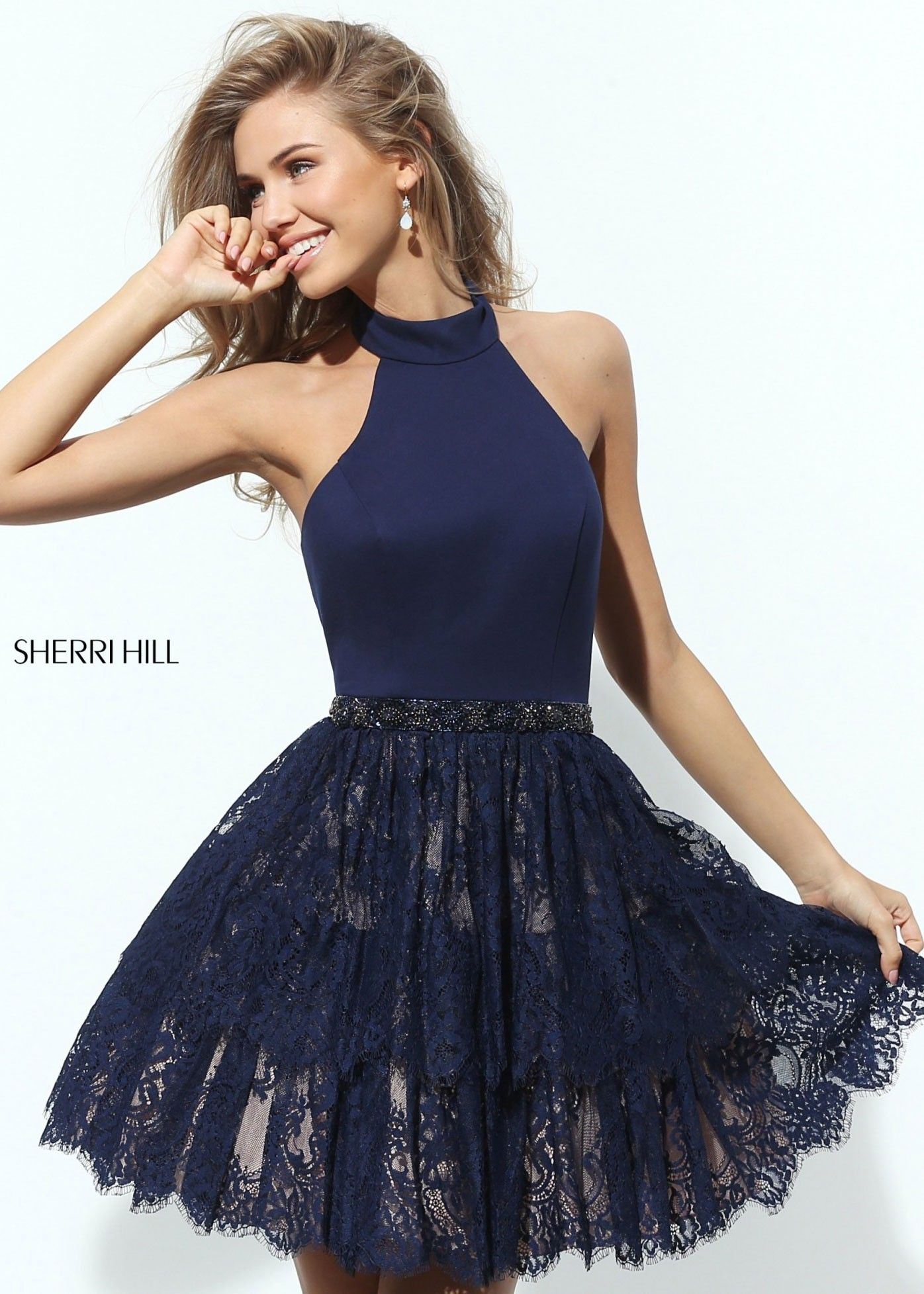Sherri Hill 50634 Lace Skirt Halter Dress Navy Lace Lace Skirt