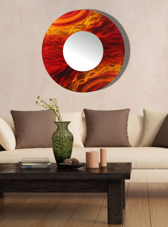 Red Wall Mirror red, orange & yellow modern metal wall art mirror, large abstract
