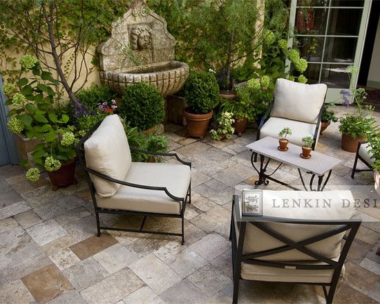 Landscape narrow side courtyard design pictures remodel for French style courtyard ideas