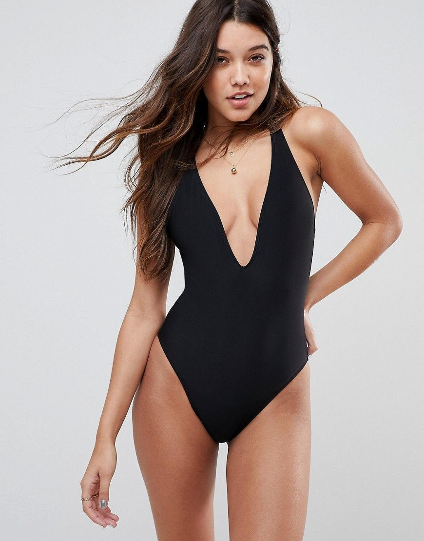 517ffc34d4 ASOS Strappy Ring Back Swimsuit - Black | Cute Swimsuits | Latest ...