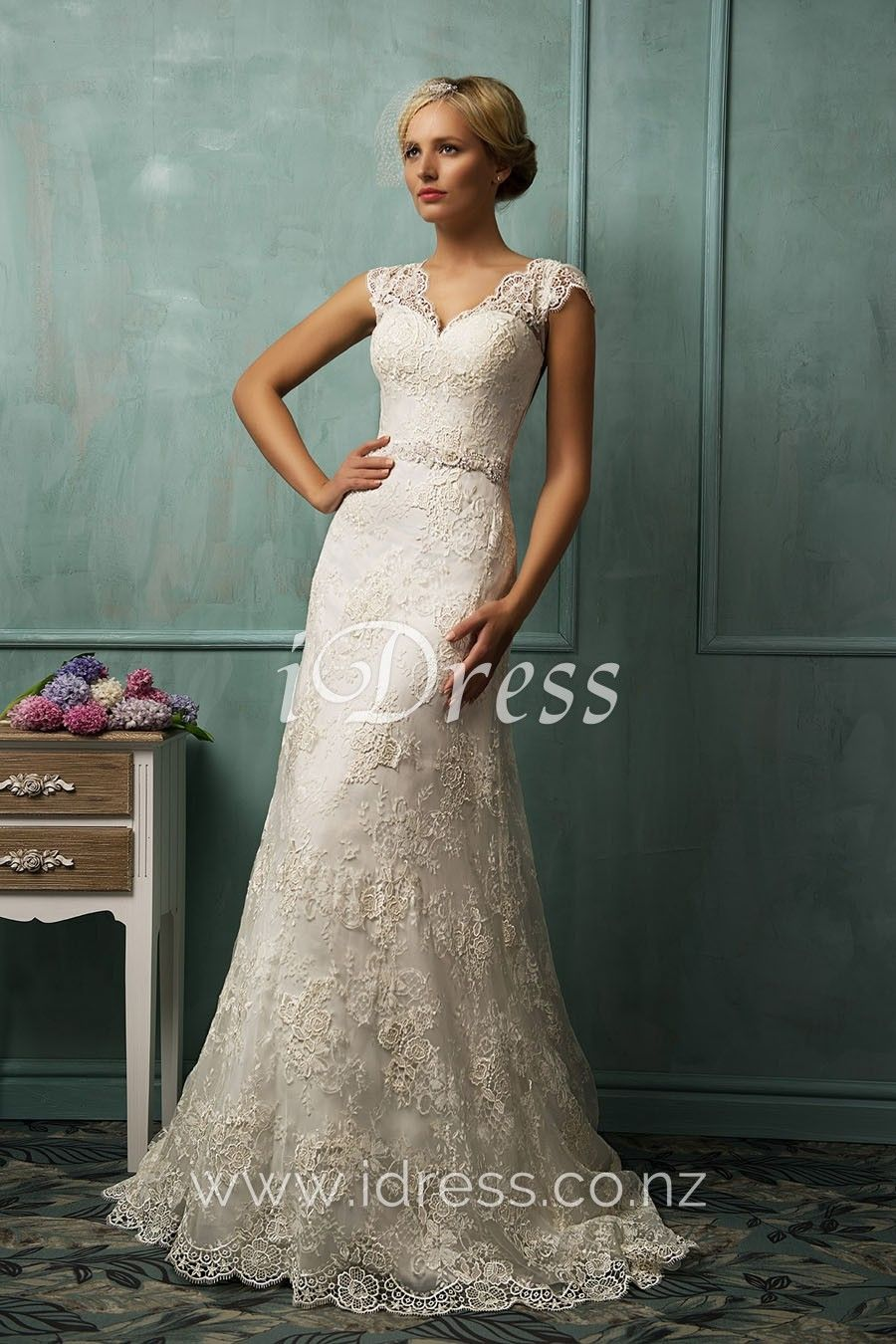 Lace cap sleeve a line wedding dress  Floor length vintage Aline wedding dress with chapel train Lace
