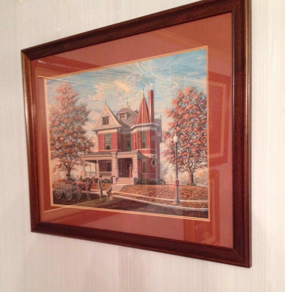 Randy Souders Signed And Framed Print Victorian Brick Home 22 X 16 #Vintage