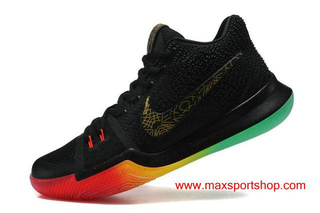 82d50416e2cd Nike Kyrie 3 iD Black Gradient Rainbow Men s Basketball Shoes