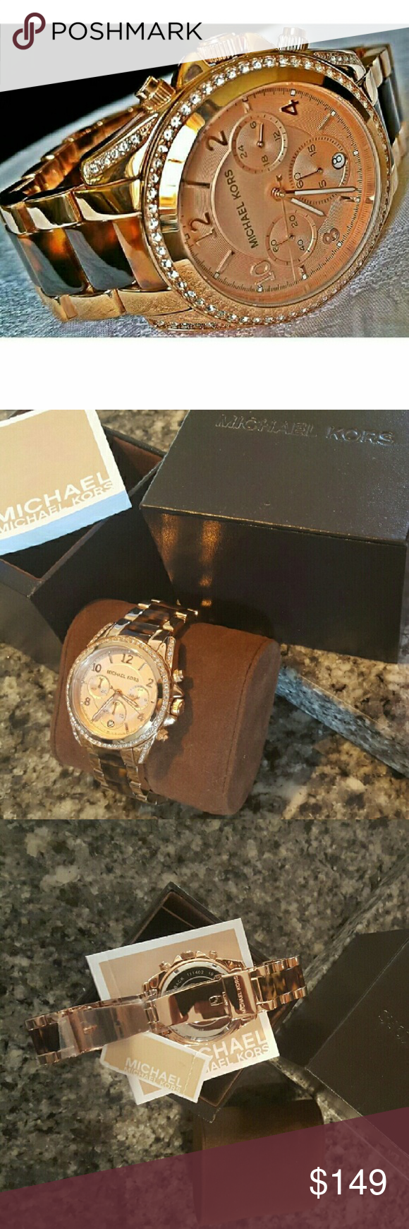 Stunning Michael Kors Blair MK Glitz watch MK5859 Guaranteed Authentic MK5859 / Model: Blair / Retail: $275 / Destination Glam rose gold stainless steel and tortoise acetate / New with Michael Kors watch box and owners booklet included / Chronograph / 39mm case / 10 ATM / UPC: 796483039544 / No trades, buy now or offer only. Shipped same business day in most cases Michael Kors Accessories Watches
