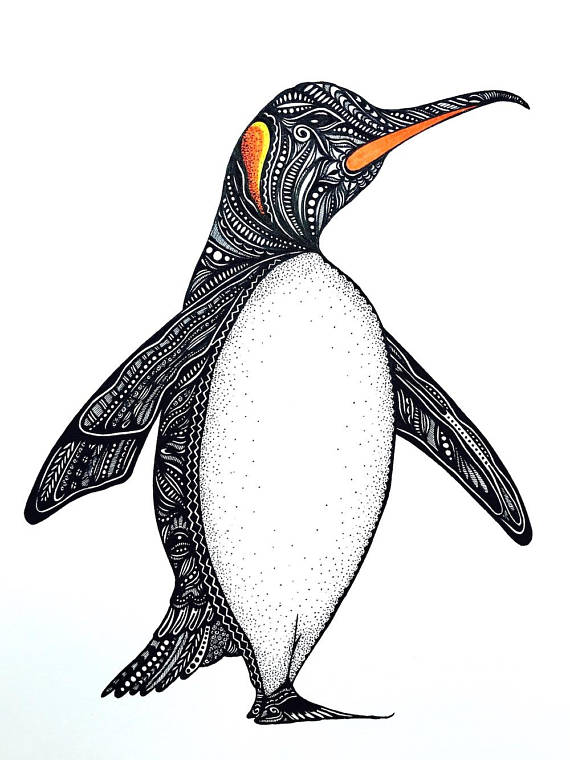 Penguin Print Zentangle Art Penguin Gift Art Prints Penguin