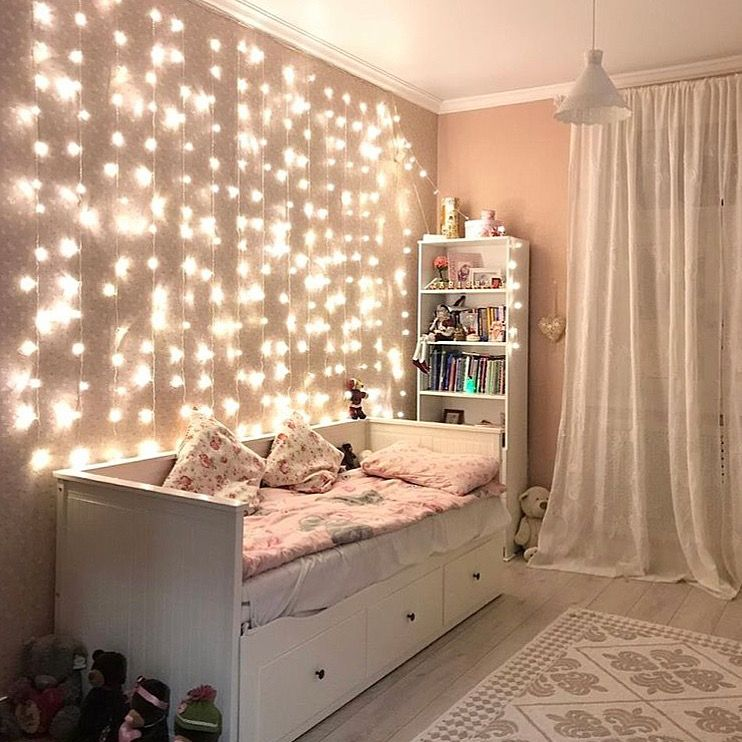 Curtain Led Lights In 2020 Small Room Bedroom Small Bedroom Decor Cool Dorm Rooms