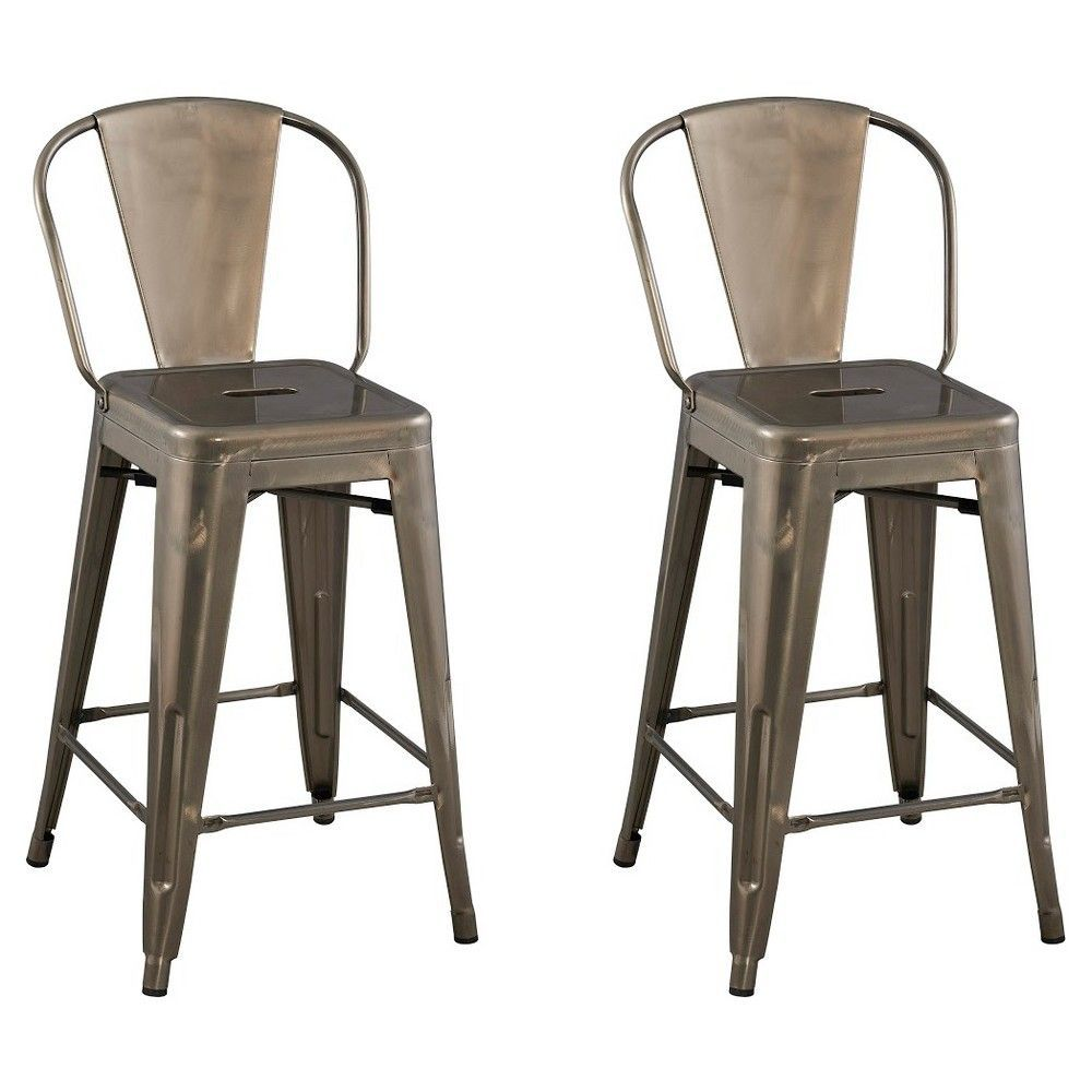Carlise 24 Backed Counter Stool Natural Metal Set Of 2
