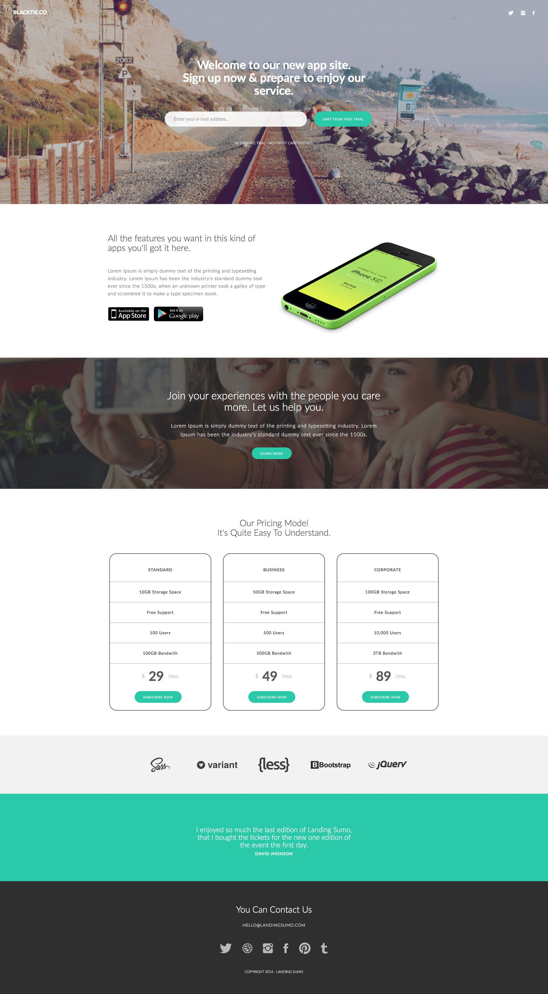 Sumo Landing Is A Beautiful One Page Free Responsive Html5 Template