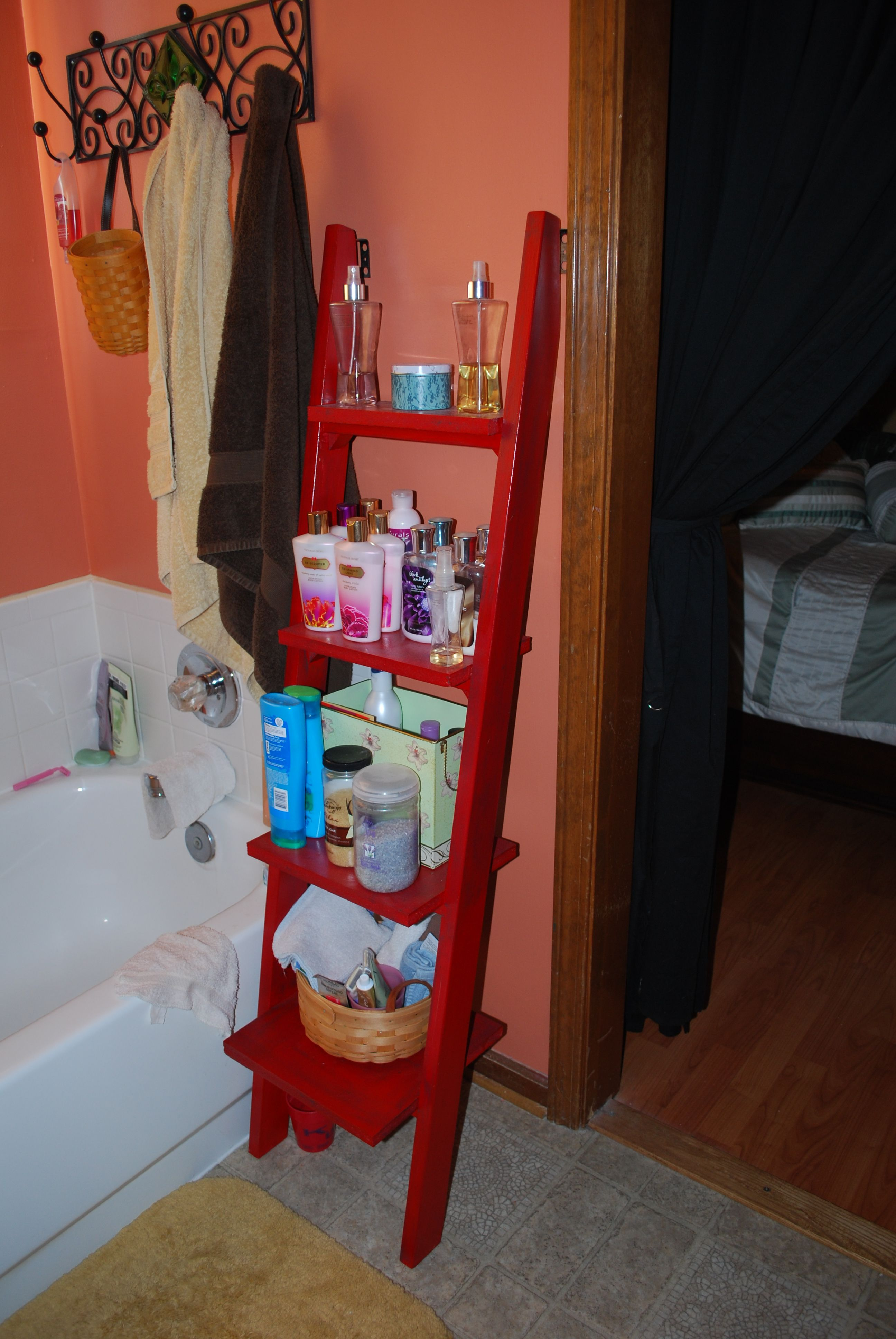 Old Bunk Bed Ladder That I Made Into A Shelf Repurposed Ladders
