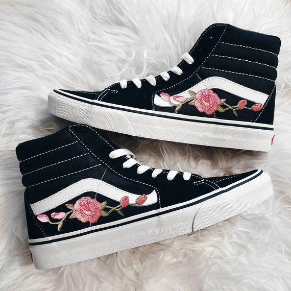044c1d0741 Unisex Sk8-Hi Rose Buds Pink Blk Custom Rose Floral Embroidered Patch Vans