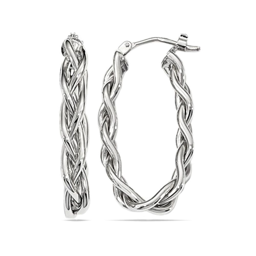 Oval hoops in 14k white gold feature three strands of gold braided together, giving the earrings an elevated, playful look perfect for black tie or a fun night out. Handmade in Italy.