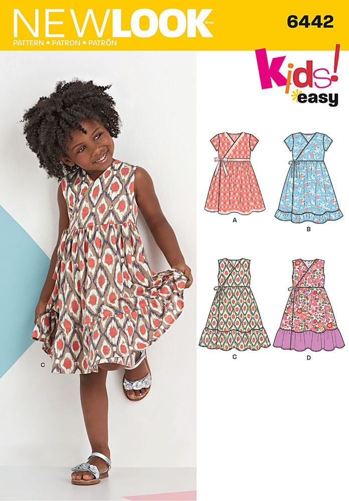 NEW LOOK 6442 Child\'s Easy Wrap Dresses | Sewing Patterns ...