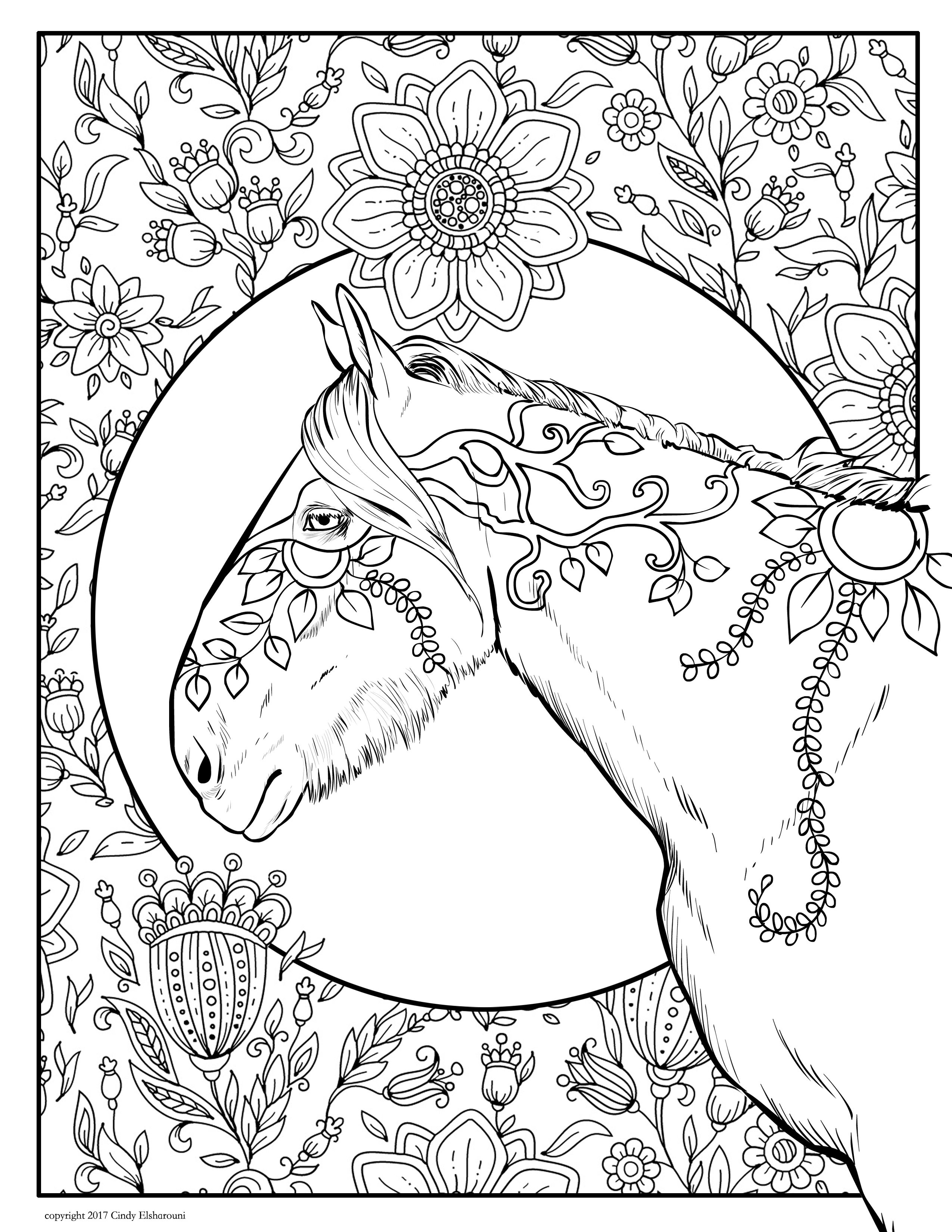 New Downloadable 14 Page Adult Coloring Book Full Of Horses And