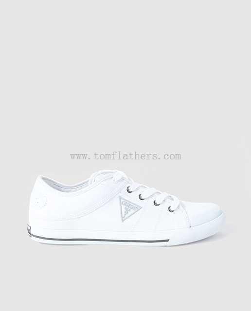 Guess Blanco Zapatillas De Lona De Hombre Redonda - A13646921