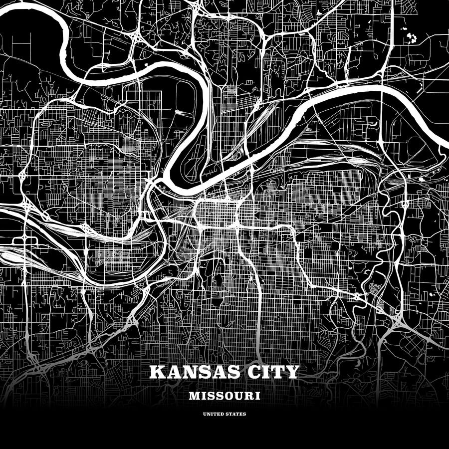 Map Of America Kansas City.Black Map Poster Template Of Kansas City Missouri Usa Maps
