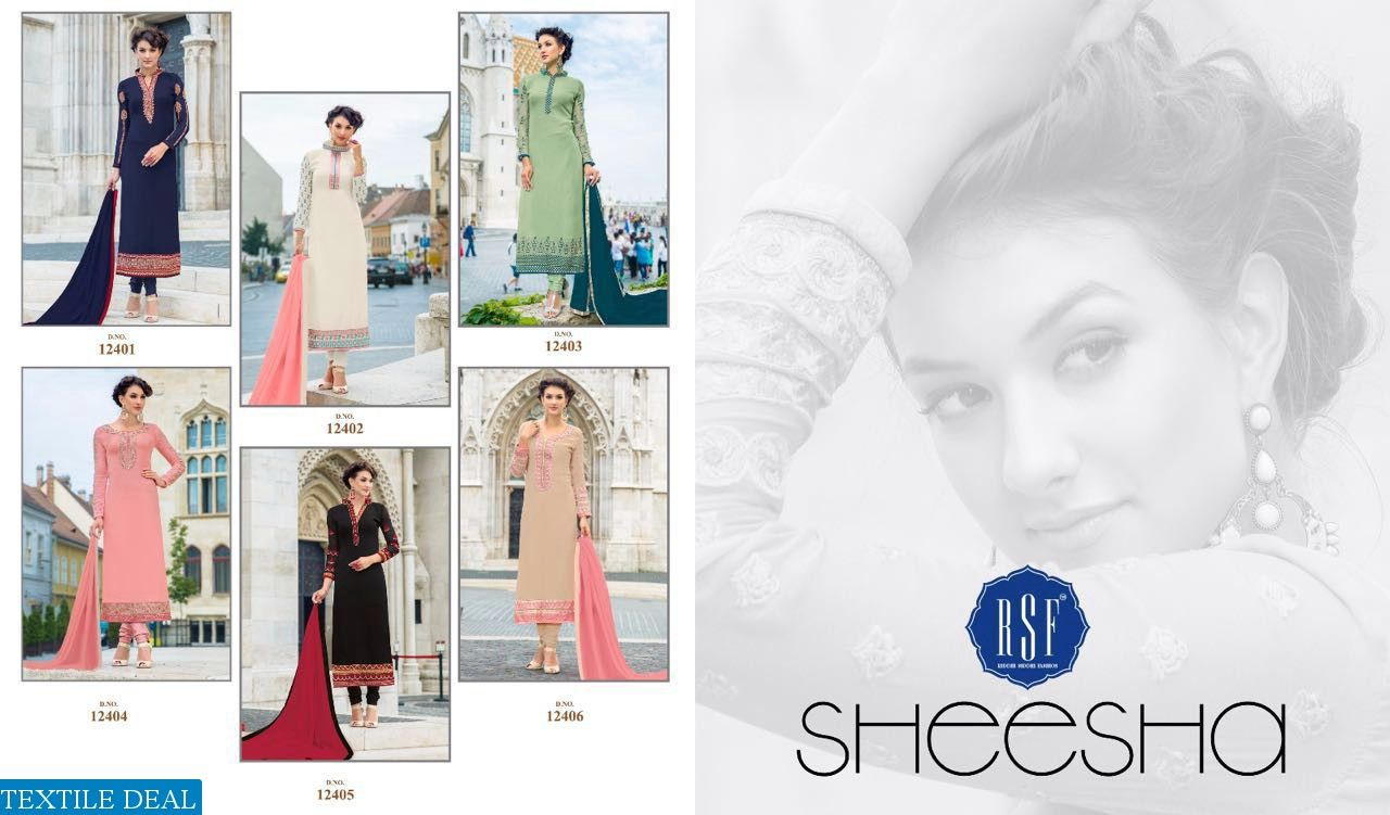 RSF-SHEESHA SUPPLIER STRAIGHT LONG GEORGETTE LADIES SUITS Catelog pieces: 6 Full Catelog Price: 5370 Price Per piece: 895 MOQ: Full catalog Shipping Time: 4-5 days Delivery: Ready to dispatch Sizes: Material Fabrics Detail Top :- Georgette Straight  Bottom :- Dull santoon inner :- Dull santoon #nicecollection  #goodmateriel  #awesomelook Call&Whatsapp;+917405434651 website link :-http://textiledeal.in/wholesale-product/4459/RSF-sheesha-supplier-Straight-long-Georgette-ladies-suits