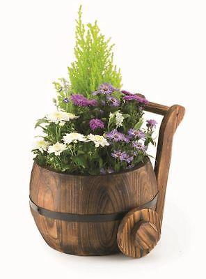 Wooden Churn Garden Window Planter Burnt Wood Modern Stylish Flower Pot Barrel