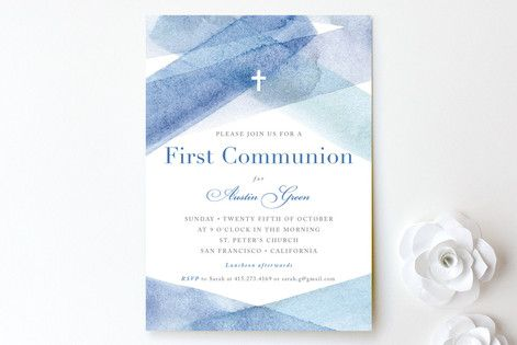 watercolor stripes First Holy Communion Invitations by Four Wet Feet Design at minted.com