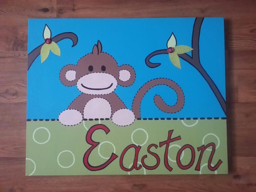 I hand painted this on canvas for Easton's room <3