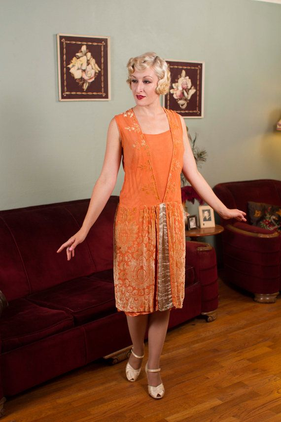 Vintage 1920s Dress - Gorgeous Tangerine Silk Devoré and Lamé Flapper Dress  - Orange Blossom