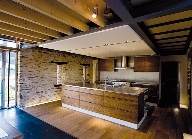 Modern kitchen in a old barn frame form pinterest for Modern barn kitchen