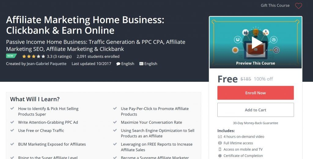 affiliate marketing home business clickbank earn online free