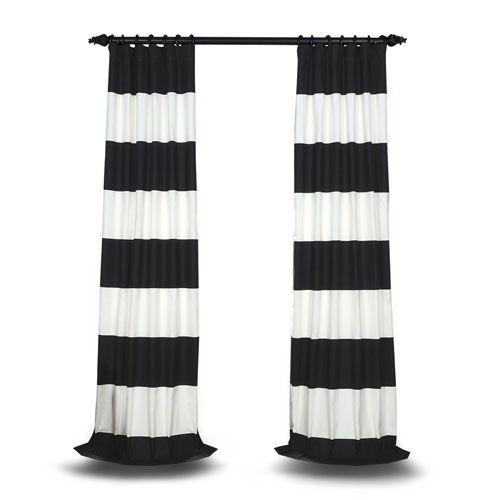 Rose Street Off White 108 X 50 In Horizontal Stripe Curtian In