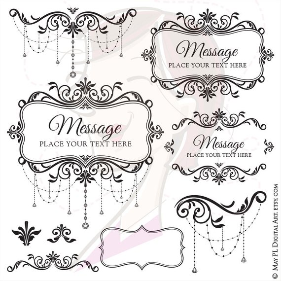 9 Pieces Of Old Style Chandelier Chain Crystal Ornate Flourish Frames Clipart Create Diy Classic Wedding Inv Vintage Wedding Decorations Ornate Frame Clip Art